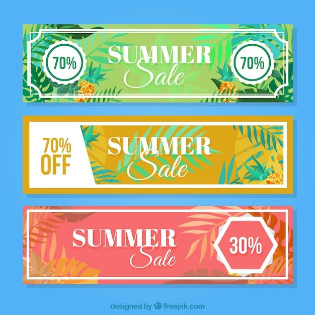 Kort zomer korting banners met palmbladeren Gratis Vector