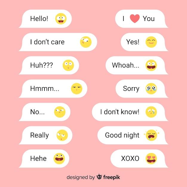 Korte berichten met emoji's voor sociale interacties Gratis Vector