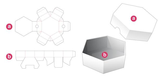 Korte zeshoekige doos en deksel gestanst sjabloon Premium Vector