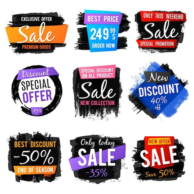 Korting en prijskaartje, verkoop banners met grange geborsteld frames en verontruste texturen vector set Premium Vector