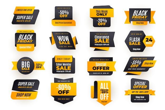 Korting verkoop banner collectie Premium Vector