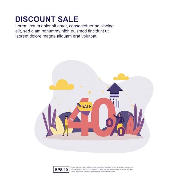 Korting verkoop presentatie, sociale media promotie, banner Premium Vector