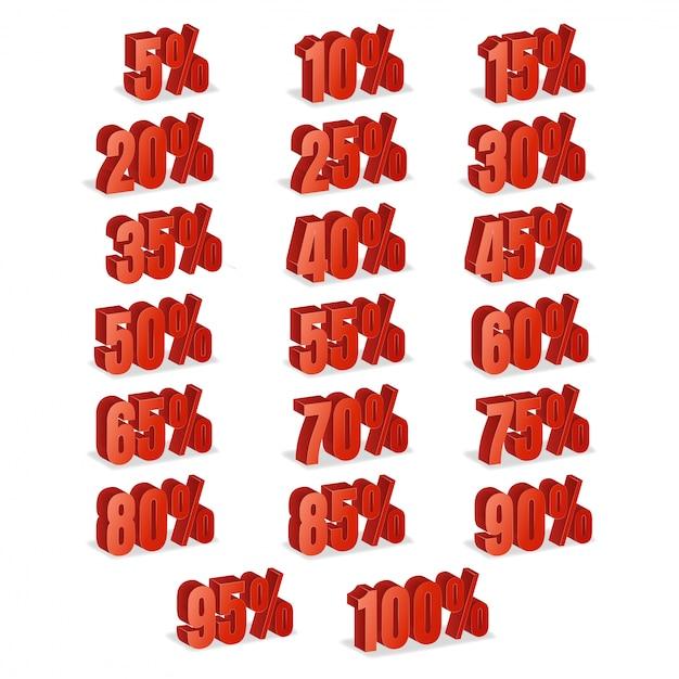 Kortingsaantallen 3d vector. rode verkoop percentage pictogrammenset in 3d-stijl geïsoleerd op een witte achtergrond. Premium Vector