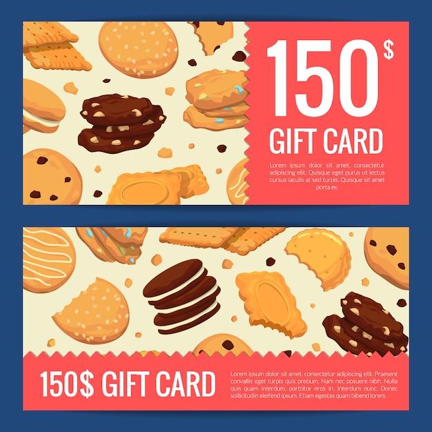 Kortingsbon cadeaubon van set sjablonen met cartoon cookies Premium Vector