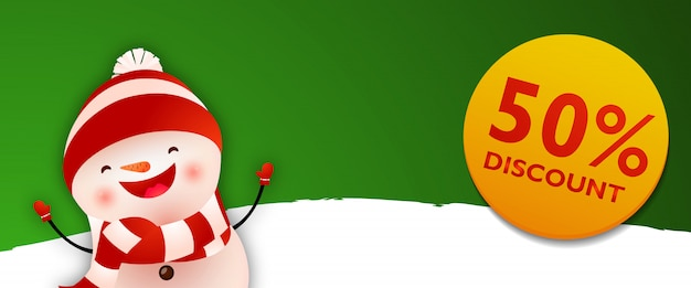 Kortingsbon met cartoon grappige sneeuwpop Gratis Vector