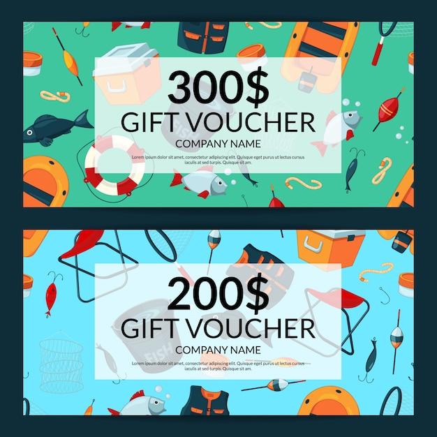 Kortingsbon of cadeaubon voucher sjablonen met cartoon visuitrusting Premium Vector