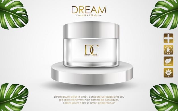 Kosmetische die roomcontainer op witte achtergrond wordt geïsoleerd Premium Vector