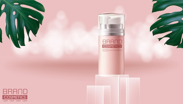 Kosmetische roze nevelfles op monstera-deliciosa en roze kleur, realistisch ontwerp, vectorillustratie. Premium Vector