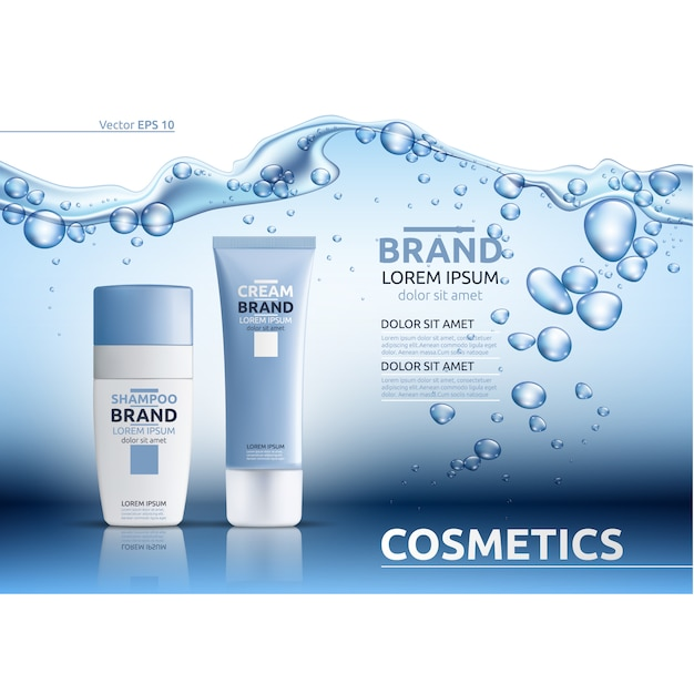 Kosmetische sjabloon met waterontwerp Premium Vector