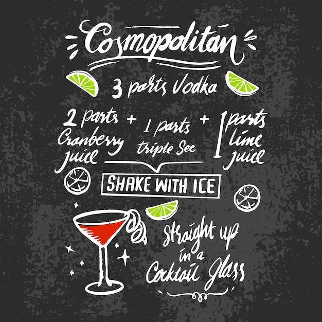 Kosmopolitisch alcoholisch cocktailrecept op bord Gratis Vector