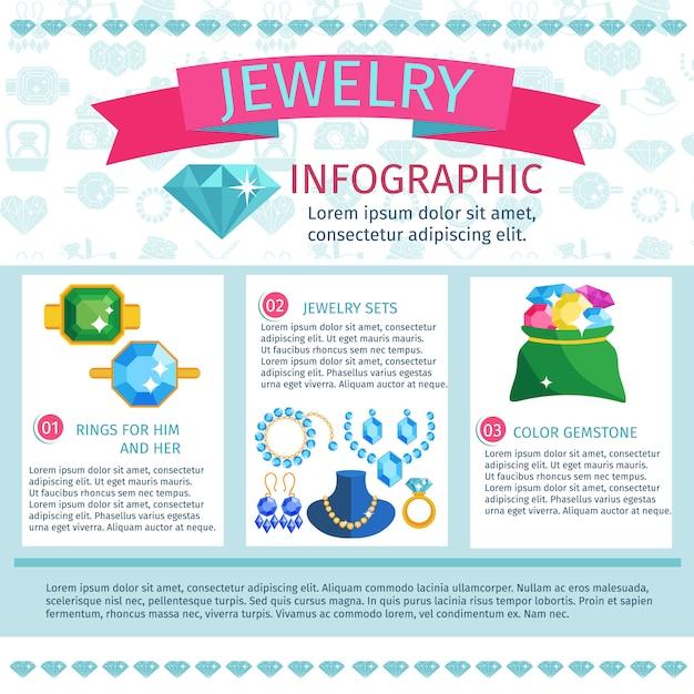 Kostbare juwelen infographics Gratis Vector