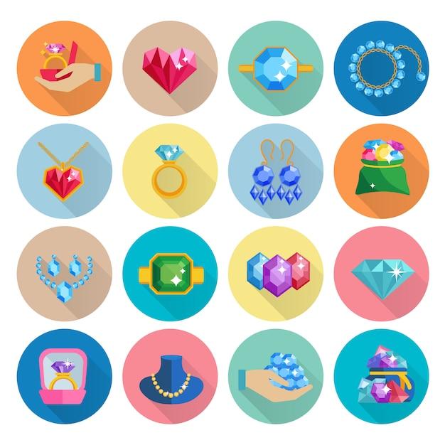 Kostbare juwelen pictogrammen platte set met luxe oorbellen ringen armbanden en kettingen geïsoleerd Gratis Vector