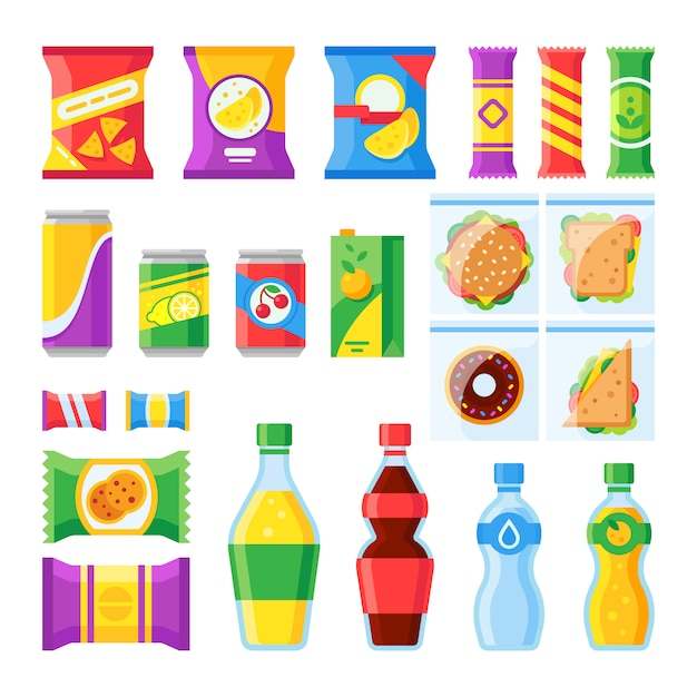 Koude dranken en snack in plastic pakket die vlakke vector geïsoleerde geplaatste pictogrammen verhandelen Premium Vector
