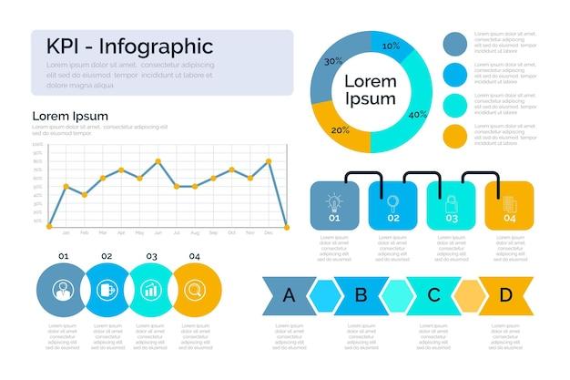 Kpi infographic pakket Gratis Vector