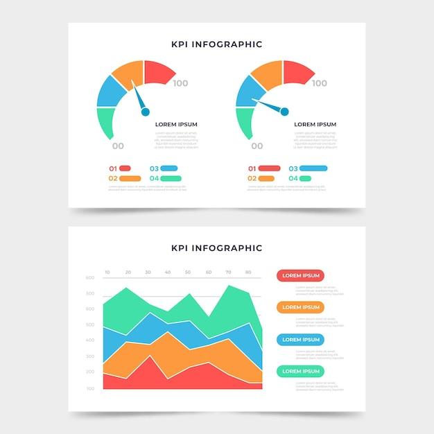 Kpi infographic sjabloon Gratis Vector