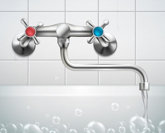 Kraan realistische compositie met uitzicht op badkamer muur geconfronteerd met tegels schuim bubbels en metalen kraan Gratis Vector