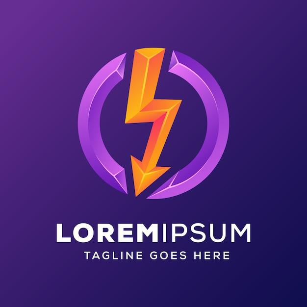 Kracht energie met pijl logo Premium Vector