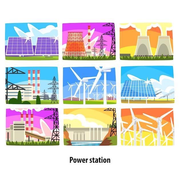 Krachtcentrale set, elektriciteitscentrales en bronnen kleurrijke illustraties Premium Vector
