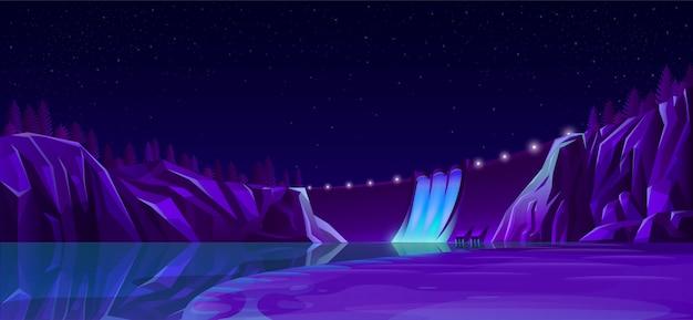Krachtdam met wegverlichting mooi nachtlandschap Gratis Vector