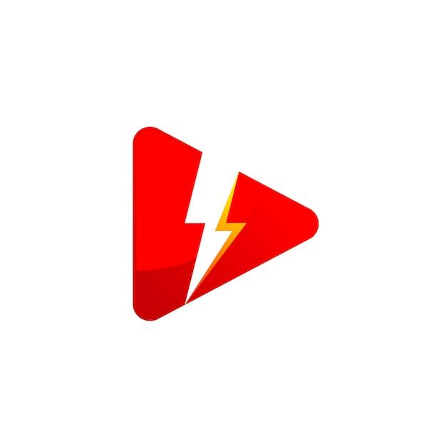 Krachtig media player-logo met bliksemsymbool Premium Vector