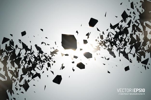 Krachtige burst. zwarte deeltjes op donkere achtergrond. explosiewolk van zwarte stukken met gloeilampen. abstract Premium Vector
