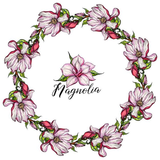 Krans met magnolia bloemen Premium Vector