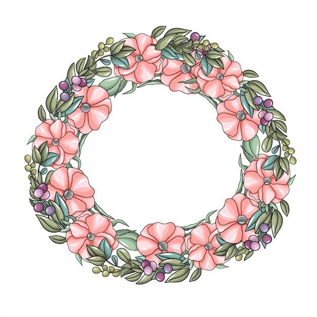 Krans met roze bloemen en eucalyptustakken Premium Vector