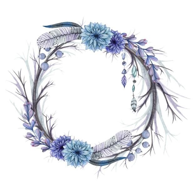 Krans van takken en veren, blauwe bloemen en kralen Premium Vector