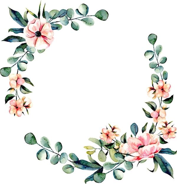 Kranskader roze bloemen en eucalyptustakken Premium Vector
