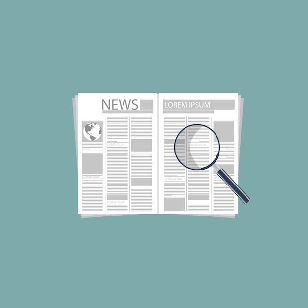 Krant en vergrootglas Gratis Vector
