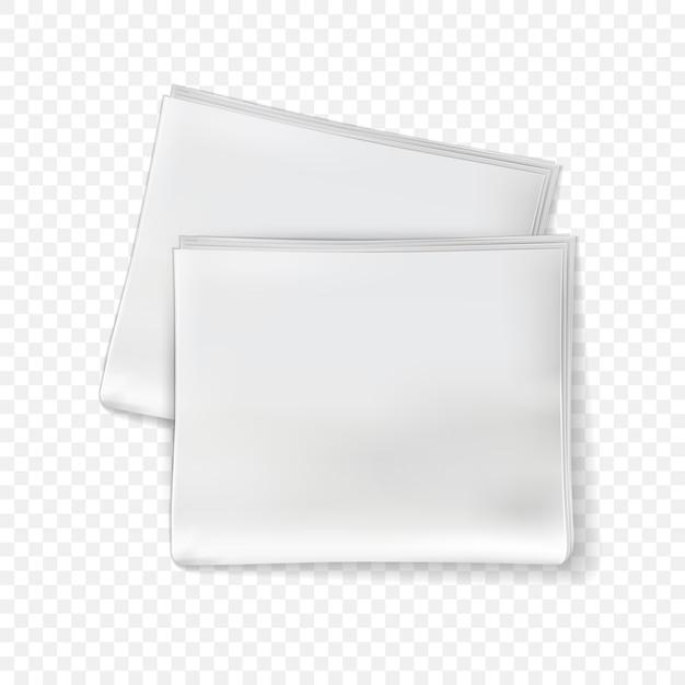 Krant mockup. blanco krantenbladen, tabloid tijdschrift met gevouwen pagina's. dagelijkse pers papieren dagboeksjabloon Premium Vector