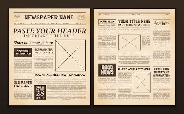 Krant pagina's sjabloon vintage Gratis Vector