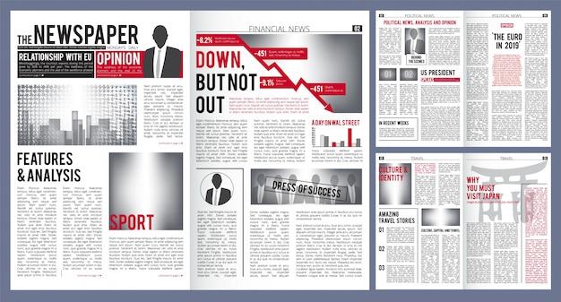 Krant sjabloon. afdruklay-out van krantenkopkop en financiële artikelen met plaats voor tekstvector Premium Vector