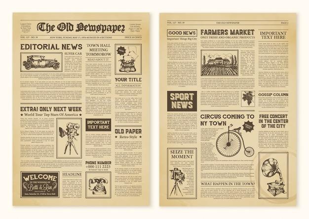 Krantenpagina's in vintage Gratis Vector
