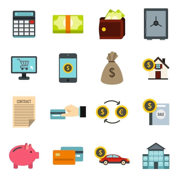 Kredietpictogrammen instellen Premium Vector