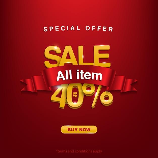 Krijg korting, speciale aanbieding verkoop alle items tot 40% Premium Vector