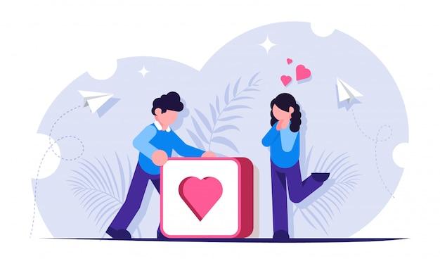 Krijg meer likes-concept. social media illustratie. man duwt grote knop met hart. meisje verheugt zich over de ontvangen aandacht van de man. Premium Vector