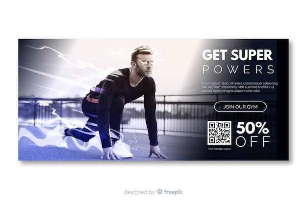 Krijg super sport banner met afbeelding Gratis Vector