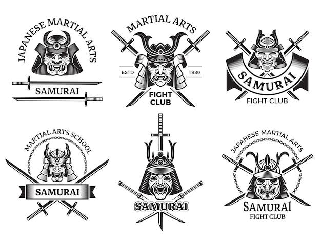 Krijgs aziatische etiketten. samurai agressieve krijger maskers en zwaard katana labels logo of tattoo s Premium Vector