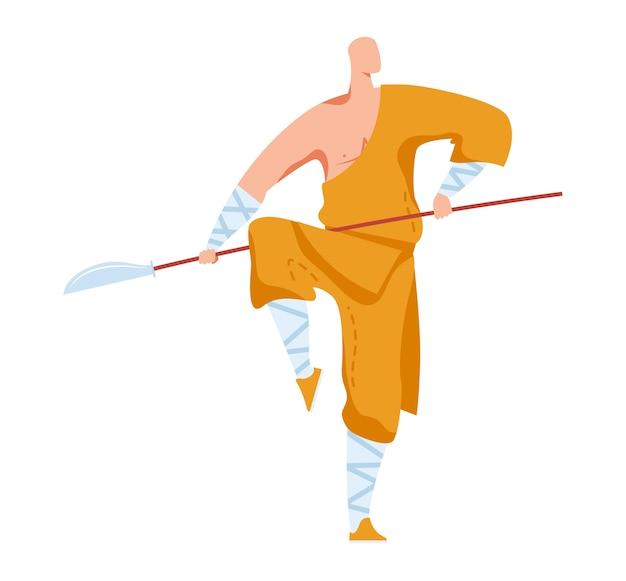 Krijgskunst, aanvallende pose, traditionele japanse vechter, oosterse sport, stijl cartoon illustratie, geïsoleerd op wit. oefen een enkel gevecht, mannen in gele kimon met scherp zwaard op paal. Premium Vector