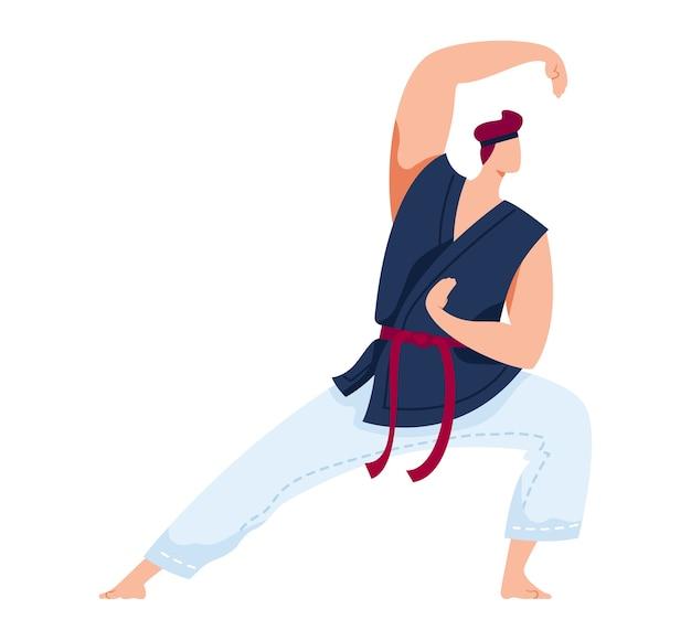 Krijgskunst, japanse sport, agressief worstelen, trainingsoefening, ontwerp cartoon stijl illustratie, geïsoleerd op wit. man scherp zwaard, blade training, mixed martial arts, actieve levensstijl Premium Vector