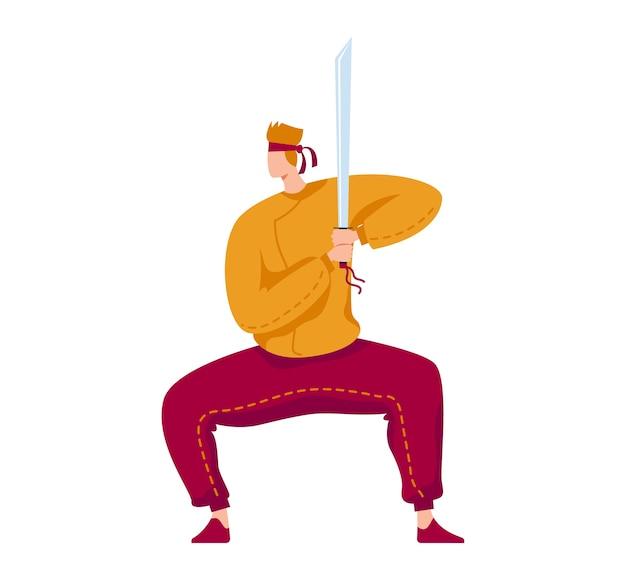 Krijgskunst, samurai professionele vechter, katana-gevecht, traditioneel wapen, cartoon stijl illustratie, geïsoleerd op wit. man met scherp zwaard leren vechten met messen, actieve levensstijl Premium Vector