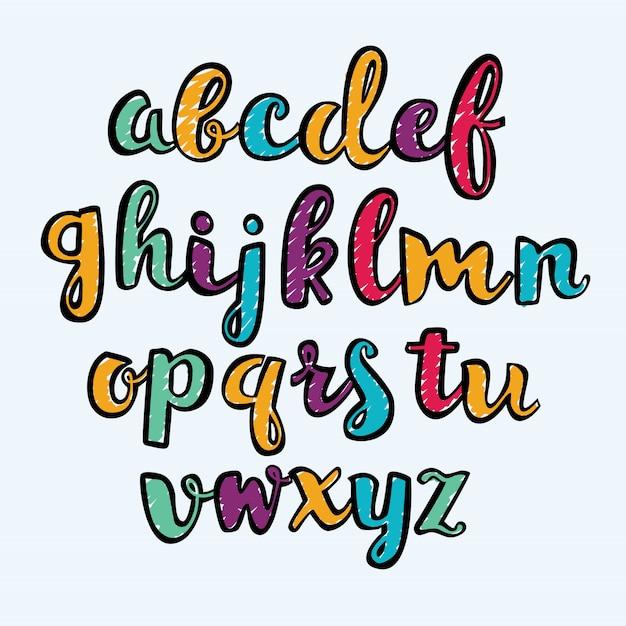 Krijt doodles lettertypen Premium Vector