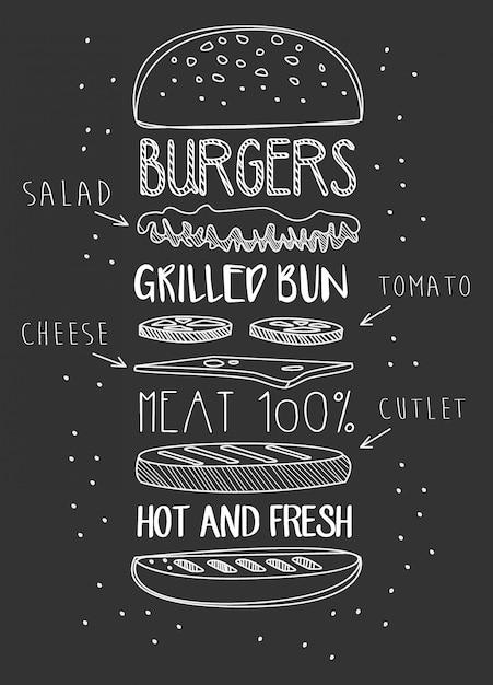 Krijt getrokken componenten van klassieke cheeseburger. Premium Vector