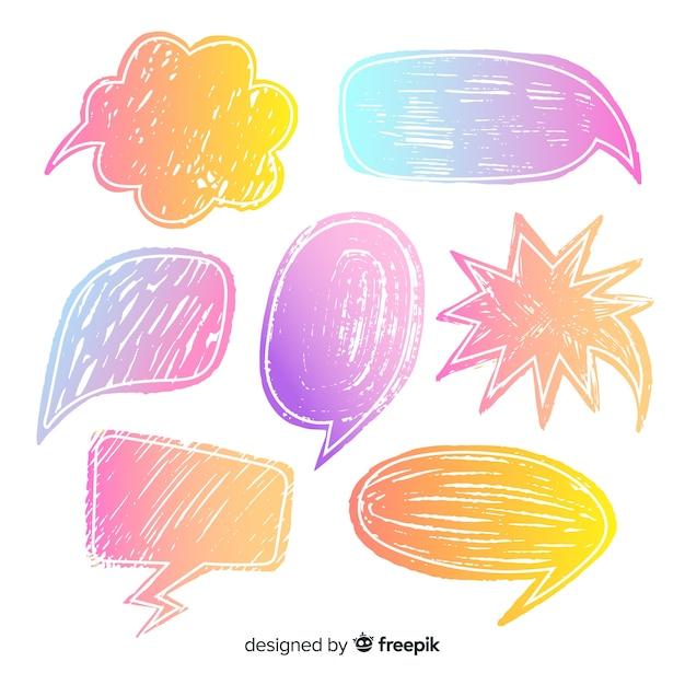 Krijt hand getrokken chat bubble collectie Gratis Vector