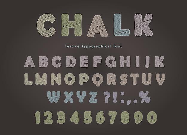 Krijt lettertype ontwerp op het schoolbord. Premium Vector