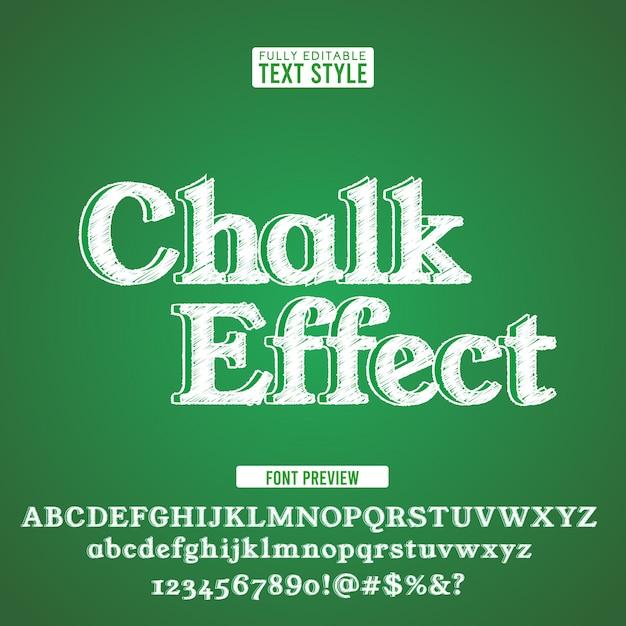 Krijt tekst lettertype alfabet krabbel ruwe hand getekend op groen bord. Premium Vector