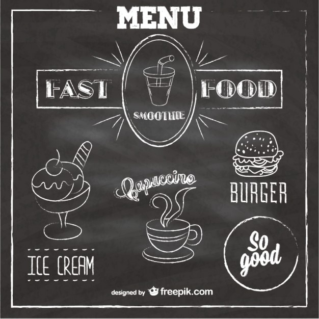 Krijtbord fast food menu Gratis Vector