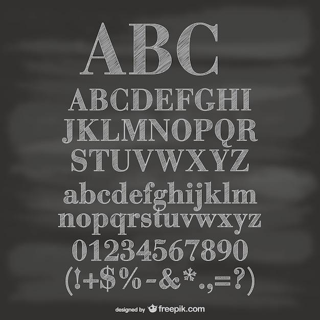 Krijtbord vector alfabet cijfers en symbolen Gratis Vector