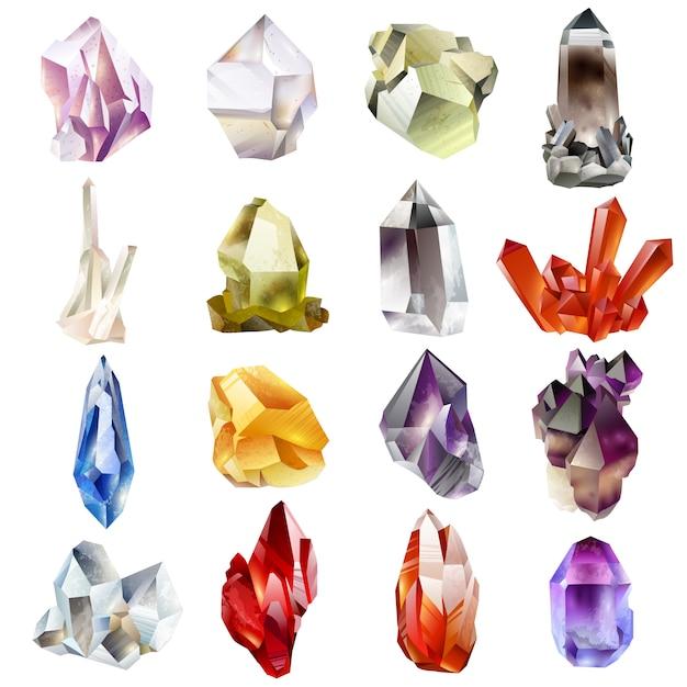 Kristallen en stenen geïsoleerde vector set Premium Vector